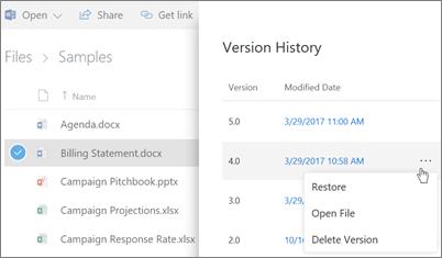Petikan skrin memulihkan fail dalam OneDrive for Business daripada sejarah versi dalam anak tetingkap butiran dalam pengalaman moden