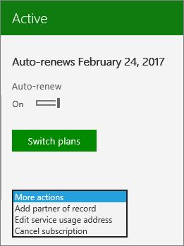 Petikan skrin menu tindakan lain pada kad langganan dalam Pusat pentadbiran.