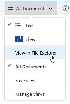 Menu dokumen semua dengan Buka dalam penjelajah fail yang diserlahkan