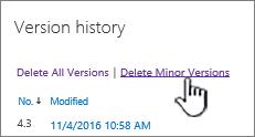 Kotak dialog versi dengan padamkan versi minor diserlahkan