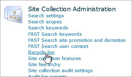 Seksyen Pentadbiran koleksi laman SharePoint 2010 dengan kitar semula diserlahkan