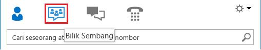 Petikan skrin bagi seksyen ikon pandangan tetingkap utama Lync dengan bilik sembang yang dipilih