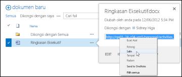 URL dokumen SharePoint dalam petak bual dokumen