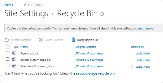 Recyclebin yang membolehkan anda memadamkan atau memulihkan item