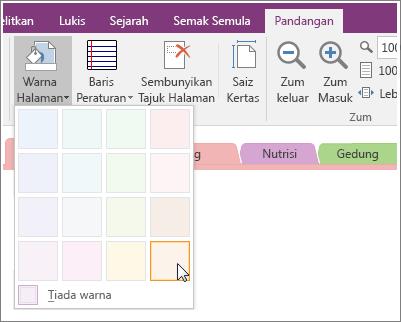 Petikan skrin butang Warna Halaman dalam OneNote 2016.