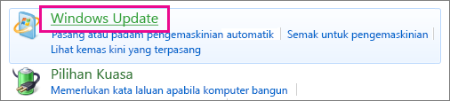Pautan Windows Update dalam Panel Kawalan