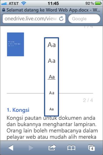 Memilih saiz fon dalam Mobile Viewer untuk Word