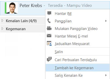 Petikan skrin bagi pemilihan tambah ke Kegemaran