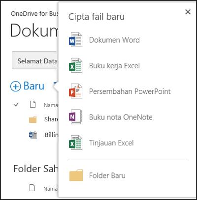 Opsyen Office Online yang anda boleh gunakan dari butang Baru dalam OneDrive for Business