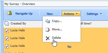 Dari butang tindakan, klik Padam untuk memadamkan data terpilih
