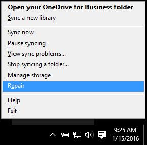 Dialog Baiki anda mendapat apabila anda klik kanan pada ikon awan