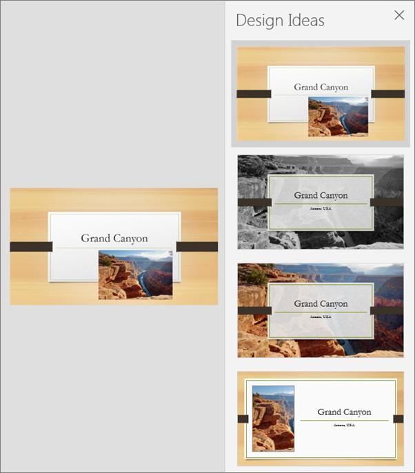 Menunjukkan contoh Idea Reka Bentuk untuk PowerPoint.