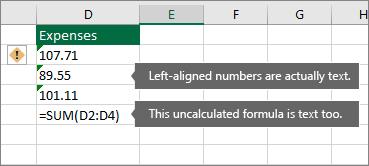 Sel dengan nombor yang disimpan sebagai teks dengan segi tiga hijau