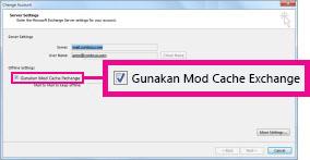Gunakan kotak semak Mod Cached Exchange dalam kotak dialog Ubah Akaun