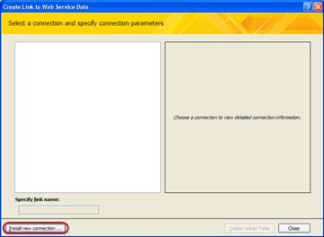 Memasang sambungan data Perkhidmatan Web