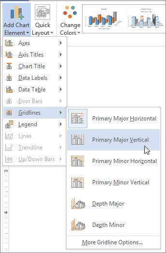 Memilih opsyen garisan grid pada menu garisan grid