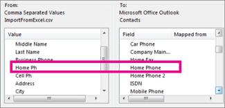 Memetakan medan dalam fail import kepada medan dalam Outlook