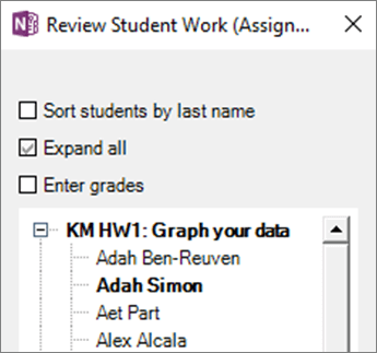 Tetingkap semak semula kerja pelajar dalam buku nota kelas. Menunjukkan senarai nama pelajar di bawah tugasan. Nama tugasan dan nama pelajar berada dalam tebal kerana pelajar diedit tugasan.
