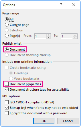 Kosongkan sifat dokumen untuk mengelakkan perkongsian maklumat tersebut dalam fail PDF.
