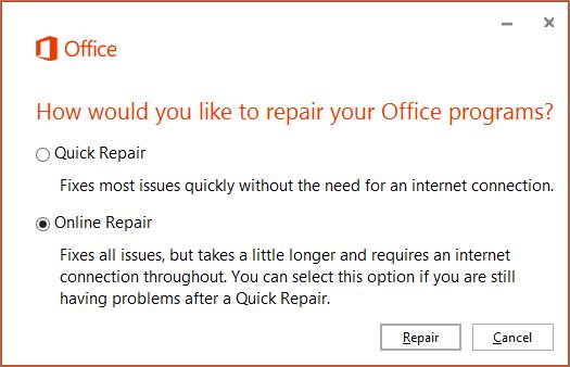 Kotak dialog Baiki Office apabila membaiki OneDrive untuk aplikasi penyegerakan OneDrive for Business