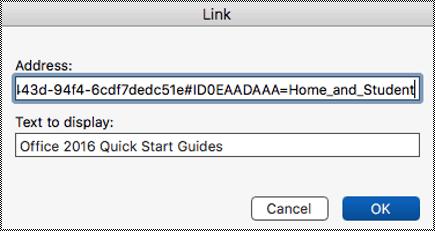 Dialog Hiperpautan dalam Mac.