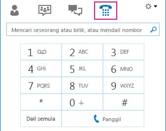 Petikan skrin ikon Telefon menunjukkan pad dailan yang boleh digunakan untuk membuat panggilan