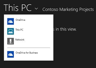 Memilih OneDrive for Business daripada aplikasi lain