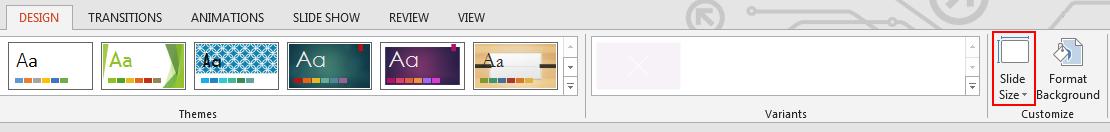 Pada tab Reka Bentuk dalam kumpulan Sesuaikan, klik Saiz Slaid.