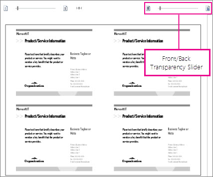 Print preview slider for seeing both the front and back of your publication so you can see if they line up correctly.