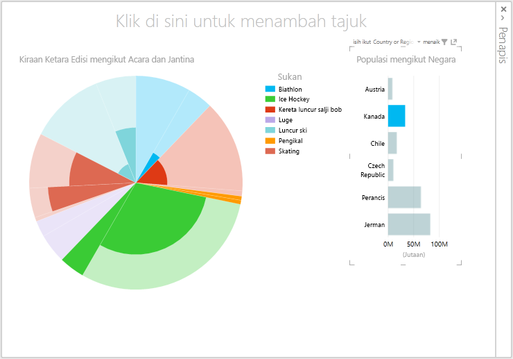 data dinamik dalam penggambaran carta pai Power View