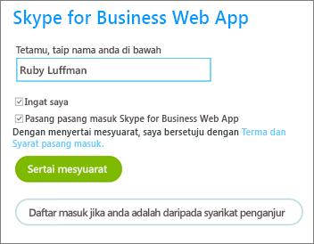 Daftar masuk ke Skype for Business Web App sebagai tetamu atau dengan kelayakan organisasi anda