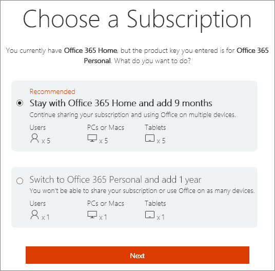 Pilih untuk kekal dengan Office 365 Home atau Tukar ke langganan Office 365 Personal.