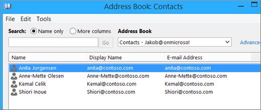 Apabila kenalan anda diimport dari Google Gmail ke Office 365, anda akan melihatnya disenaraikan dalam Buku Alamat: Kenalan