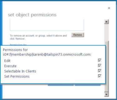 Petikan skrin kotak dialog Setkan Kebenaran Objek di SharePoint Online. Gunakan dialog ini untuk mengeset keizinan untuk Jenis Kandungan Luaran tertentu.