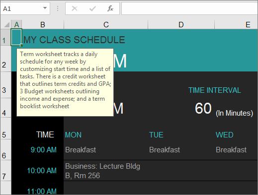 Templat Excel Pengurus kursus Kolej baru dengan Perihalan untuk unsur.