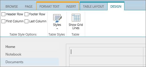 Petikan skrin reben SharePoint Online. Gunakan tab Reka bentuk untuk memilih kotak semak untuk baris pengepala, pengaki baris, Lajur pertama dan lajur terakhir dalam Jadual serta pilih daripada gaya jadual dan menunjukkan jika Jadual menggunakan garisan grid.