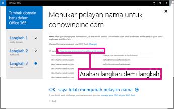 Dalam Office 365 klik arahan Langkah Demi Langkah untuk maklumat lanjut