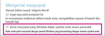 """Opsyen umum untuk pengguna yang disahkan jika """"Ingat saya pada komputer ini"""" ditandakan"""