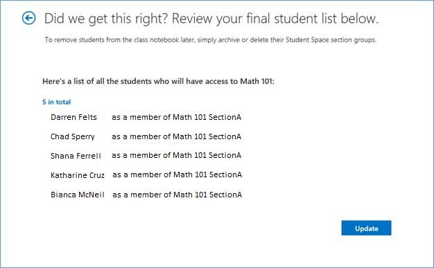 Petikan skrin senarai pelajar muktamad.