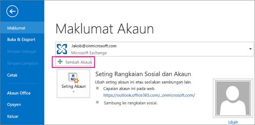 Untuk menambah akaun Gmail ke Outlook, klik butang Tambah Akaun