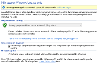Seting Windows Update Windows 8 dalam Panel Kawalan