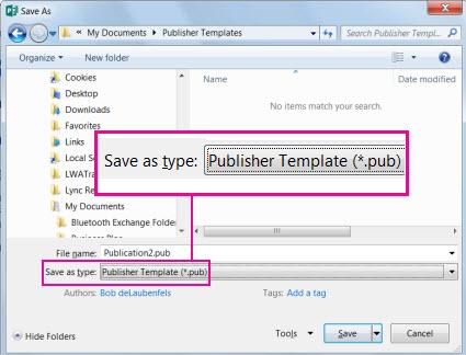 Simpan penerbitan anda sebagai templat untuk penggunaan semula.