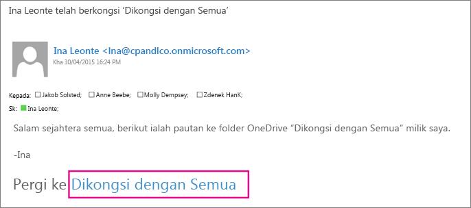 Buka e-mel dan pilih Pergi ke laman web