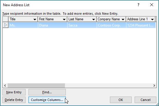 Untuk menambah lajur tersuai pada senarai mel anda, klik butang lajur sesuaikan.