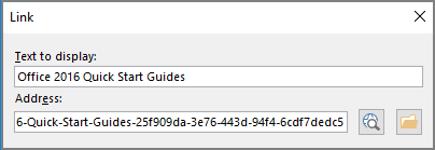 Petikan skrin dialog pautan dalam OneNote. Mengandungi dua medan untuk mengisi: teks untuk dipaparkan dan alamat.