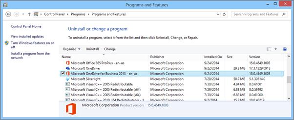 Mencari aplikasi penyegerakan OneDrive for Business dalam Panel Kawalan dalam Windows