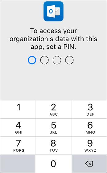 Setkan PIN untuk mencapai data organisasi anda