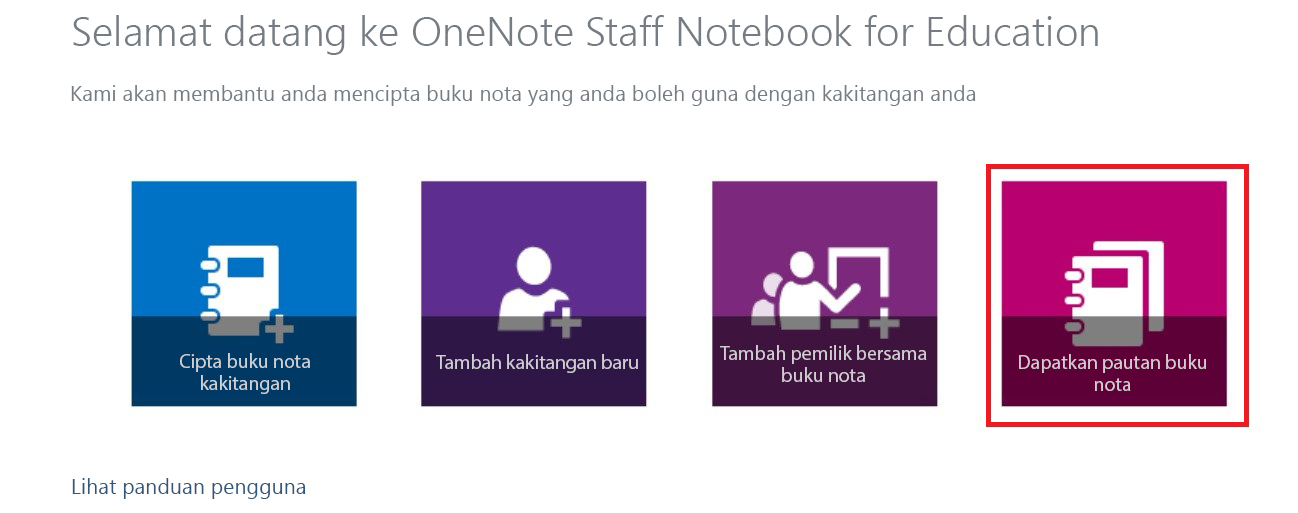 Dapatkan pautan ke buku nota anda.