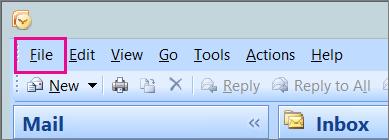 Dalam Outlook 2007, pilih tab fail.