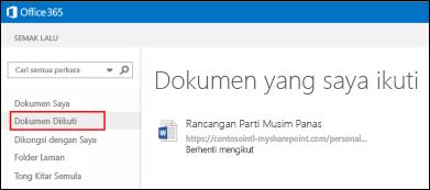 Petikan skrin dokumen OneDrive for Business yang anda ikuti dalam Office 365.